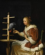Mieris 1, Frans van - A Young Woman in a Red Jacket Feeding a Parrot - 1663.jpg