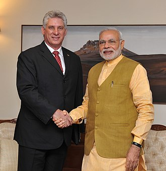 Miguel Díaz-Canel - Díaz-Canel with Indian Prime Minister Narendra Modi, in New Delhi on March 23, 2015