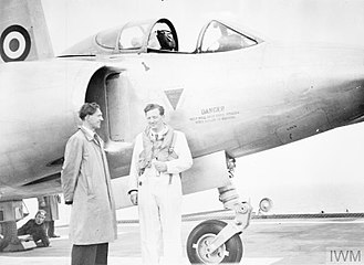 Mike Lithgow - Lithgow beside the new Vickers Supermarine 508 twin jet experimental naval fighter. 24 May 1952