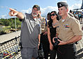 Mike Pagano, left, a Battleship Missouri Memorial military liaison, speaks to Melanie Bland and her husband Aviation Boatswain's Mate 1st Class Shawn-Patrick Bland during a tour of the Battleship Missouri 130409-N-IT566-020.jpg