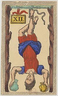 https://upload.wikimedia.org/wikipedia/commons/thumb/e/ee/Minchiate_card_deck_-_Florence_-_1860-1890_-_Trumps_-_12_-_L%27Impiccato.jpg/200px-Minchiate_card_deck_-_Florence_-_1860-1890_-_Trumps_-_12_-_L%27Impiccato.jpg
