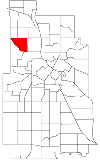 Location of Jordan within the U.S. city of Minneapolis
