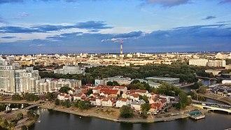 Minsk - Minsk. A view of the Svislach river and Troitskoye Predmestye (Trinity Suburb)