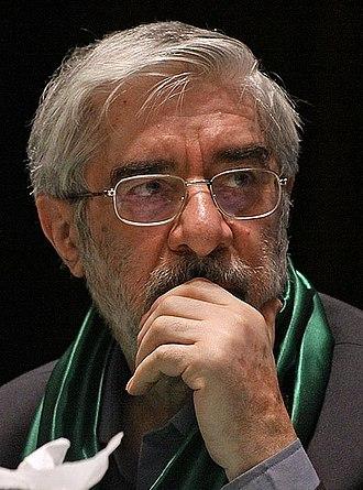 Prime Minister of Iran - Image: Mir Hossein Mousavi in Zanjan by Mardetanha 1(Cropped)