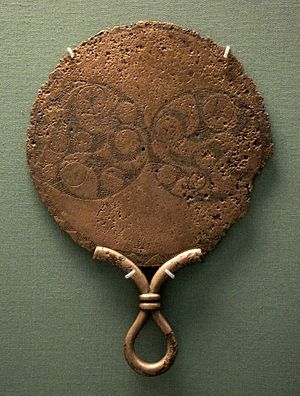 Bronze mirror - An Iron Age bronze mirror from 120-80 BCE found in St Keverne, England
