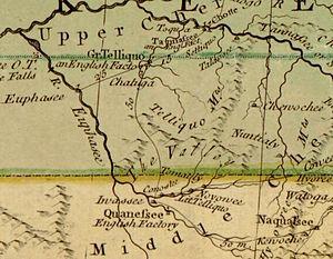 """Unicoi Mountains - The Unicoi Mountain area (the """"Telliquo Mountains"""") on John Mitchell's 1755 map of North America"""