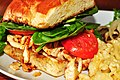 Mmm...grilled chicken with spinach, tomato, and spicy mayo (4869968574).jpg