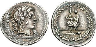 Fonteia (gens) - Denarius of Manius Fonteius, 85 BC.  The obverse depicts Apollo, as told by the monogram below his chin.  The reverse shows a Bacchic scene, with Cupid riding a goat.  Another reference to Tusculum is made with the caps of the Dioscuri above them.