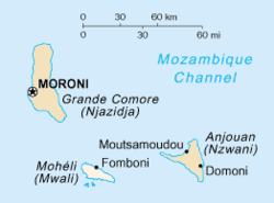 Mohéli is the lowermost shown of the Comoros islands.