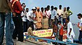 Mohan Jatua sending off relief material for cyclone Aila – devastated villagers of the Sundarbans, at Ramganga Jetty, South 24 Parganas district, West Bengal on June 07, 2009.jpg