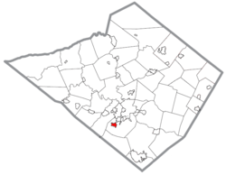Location of Mohnton in Berks County, Pennsylvania.