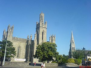 Monkstown, County Dublin - Monkstown showing to the left Monkstown Church, Dublin (Church of Ireland) and St. Patricks Church (Roman Catholic) to the right