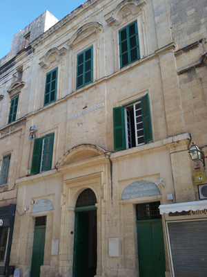 Conspiracy of the Slaves - The house in Valletta which was given to Giuseppe Cohen as a reward for revealing the plot. Since 1773, the building has housed the Monte di Pietà.