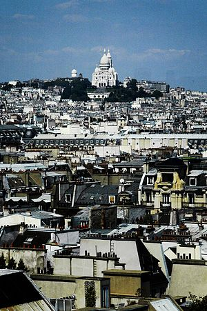 Historical quarters of Paris - Montmartre as seen from atop the Centre Georges Pompidou.