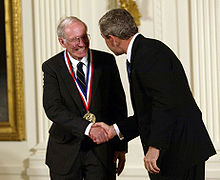 W. Jason Morgan receiving National Medal of Science from President George W. Bush, 2003