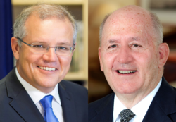 Portrait photos of Prime Minister Scott Morrison (left) and Governor-General Peter Cosgrove (right)