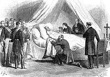 Gravură care îl arată pe regele Leopold 1 așezat la pat în cămăruța Gobelinului, unde se retrăsese de câteva zile.  Sunt prezenți, copiii lui, nepoții săi;  președinții Senatului, Camerei și miniștrilor;  Jules Van Praet, ministrul gospodăriei regelui și cel mai vechi prieten al său din Belgia, vicontele de Conway, intendent al listei civile, pastorul Becker, capelanul regelui.