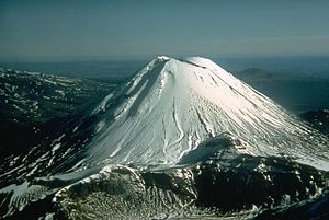 Volcanology of New Zealand - The young stratovolcano Ngauruhoe, named after the slave who legend says died on its summit