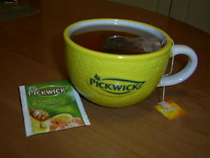 A cup of Picwick tea in a promotional Picwick mug.