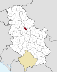 Location of the municipality of Grocka within Serbia