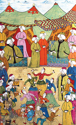 Culture of the Ottoman Empire - Musicians and dancers entertain the crowds, from Surname-i Hümayun, 1720.
