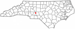 Location of Badin, North Carolina