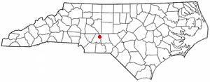 Badin, North Carolina - Image: NC Map doton Badin