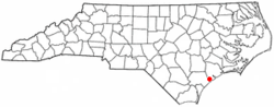 Location of Holly Ridge, North Carolina