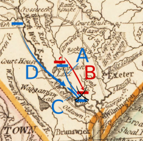 Caswell moves south from Corbett's ferry to Moore's Creek. Lillington and Ashe move south-southeast from Cross Creek to Moore's Creek along the Cape Fear River. Moore follows Lillington and Ashe, but does not reach Moore's Creek.