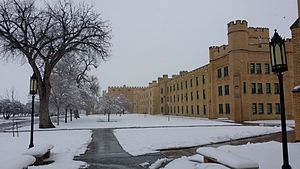 New Mexico Military Institute - Winter view of the north side of Hagerman Barracks with Pearson Auditorium in the background