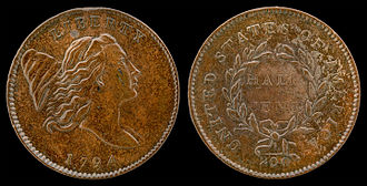 Half cent (United States coin) - Image: NNC US 1794 ½C Liberty Cap Half Cent (right)