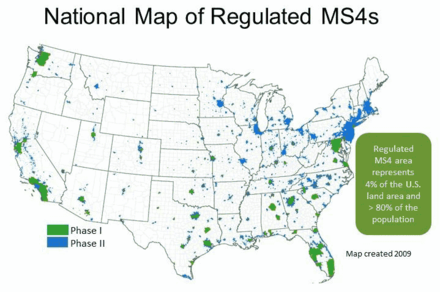 Map of municipal separate storm sewer systems National Map of Regulated MS4s 2009.png