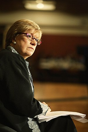 British journalist and writer Polly Toynbee, p...