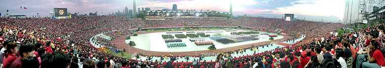A National Day Parade of Singapore, with a simulation of Singapore's skyline.