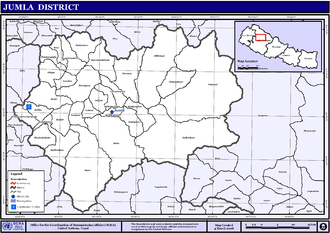 Jumla District - Map of the VDCs in Jumla District