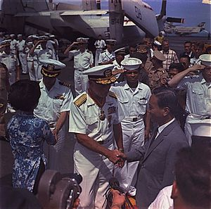 William F. Bringle - Bringle shaking hands with President and Madame Nguyen Van Thieu as they depart after a visit aboard USS Constellation