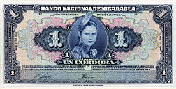 1 córdoba banknote of the Banco National de Nicaragua (National Bank of Nicaragua), issued in 1941.