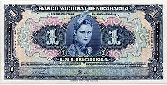 Nicaraguan córdoba - Image: Nicaragua 1 Cordoba banknote of 1941