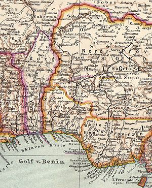 Enclaves of Forcados and Badjibo - 1907 German map showing Forcados (underlined) and Badjibo