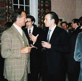 International Monarchist League - Chancellor, Count Tolstoy-Miloslavsky (left) and Prince Kyrill of Bulgaria at a Reception at Brasenose College, Oxford on 17 February 1996. Gregory Lauder-Frost (profile) is on the right.