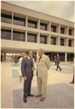 Nixon standing with Lyndon Johson outside the LBJ Library in Austin , Texas. - NARA - 194358.tif