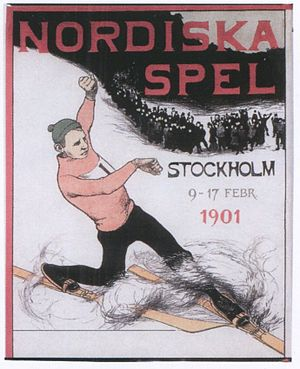 Nordic Games - First Nordic Games poster featuring telemark, 9–17 February 1901