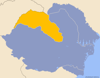 Northern Transylvania - Romania in 1940 with Northern Transylvania highlighted in yellow
