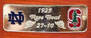 Notre Dame–Stanford football rivalry - Close up of new game score plate for Notre Dame vs. Stanford 1925 Rose Bowl