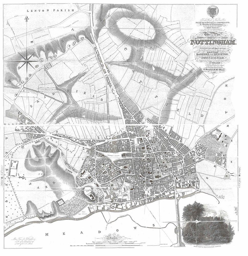Nottingham Map 1831 by Staveley and Wood