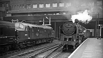 Nottingham Victoria railway station - Down freight and Up express in 1962