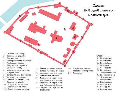 Novodevichy monastery - scheme