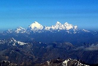 Nun Kun - Aerial view of the Nun Kun mountain massif on way to Leh.