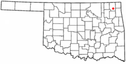 Location in Craig County and the state of Oklahoma.