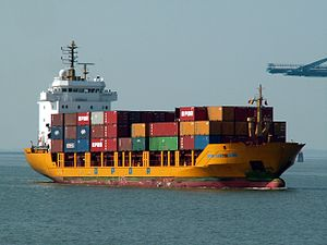 OPDR Cartagena approaching locks at Port of Antwerp 30-Aug-2005.jpg